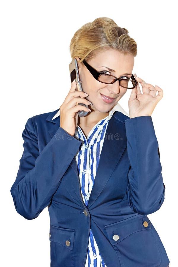 Senhora do negócio com móbil fotos de stock
