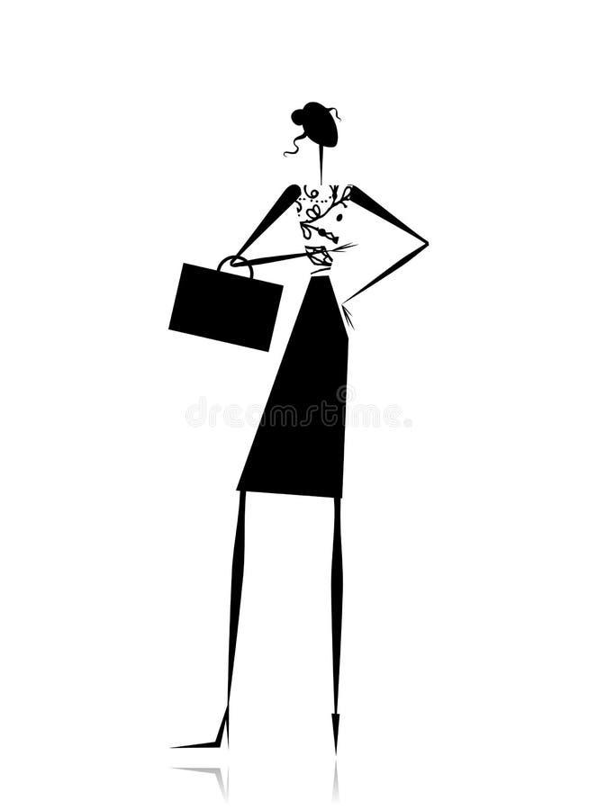 Senhora do negócio, silhueta para seu projeto ilustração do vetor