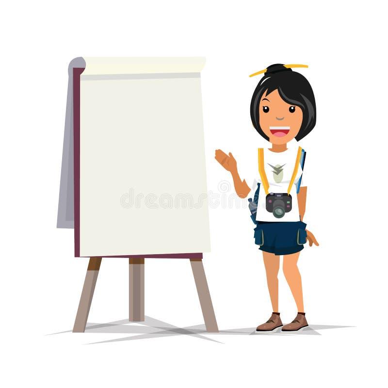 Senhora do turista que apresenta algo no cartão curso - ilustração stock
