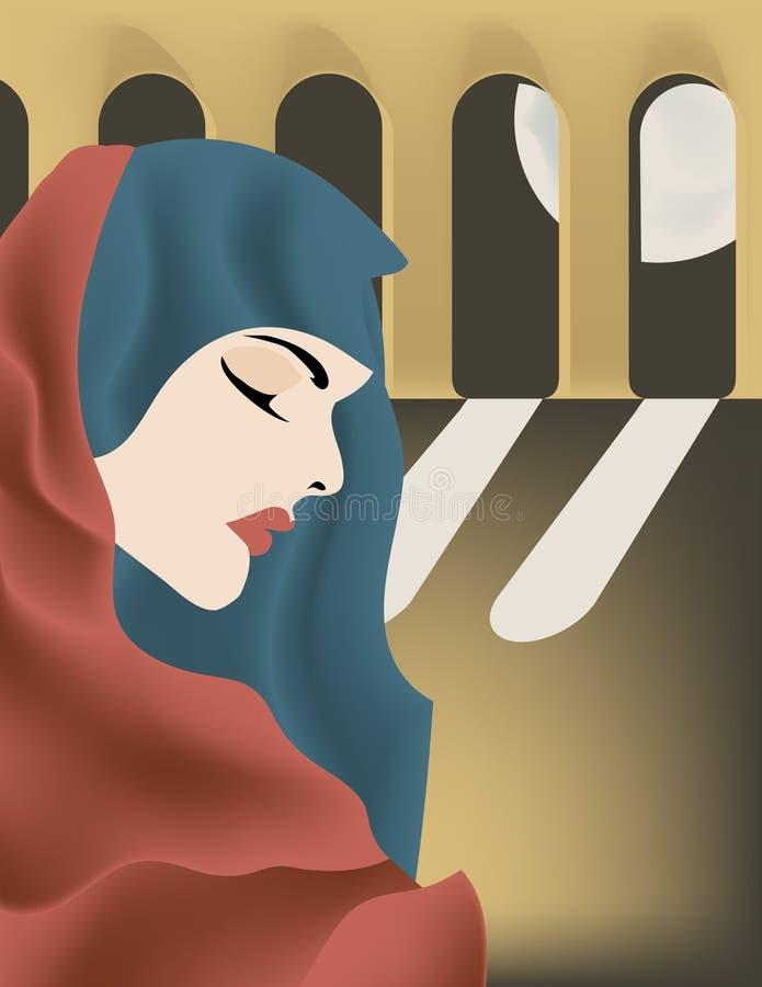 A senhora dos arcos da meia-noite ilustração stock