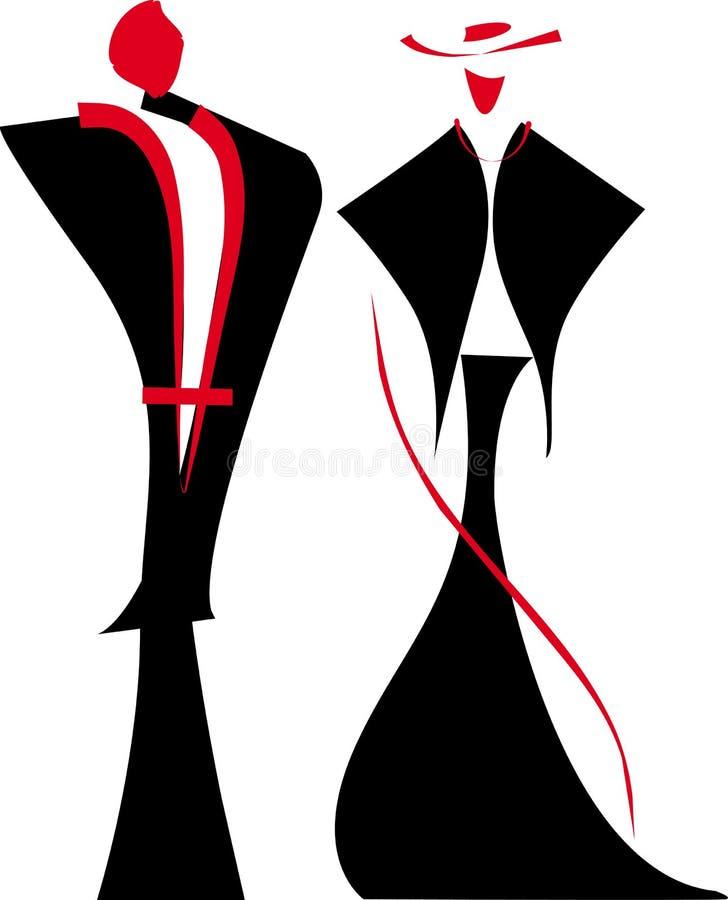 Senhora e cavalheiro ilustração royalty free