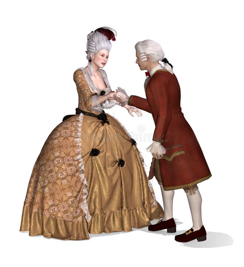 Senhora e cavalheiro do século XVIII elegantes ilustração royalty free