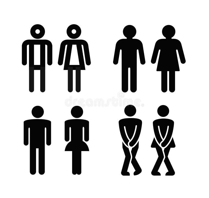 Senhora e um sinal do toalete do homem ilustração stock