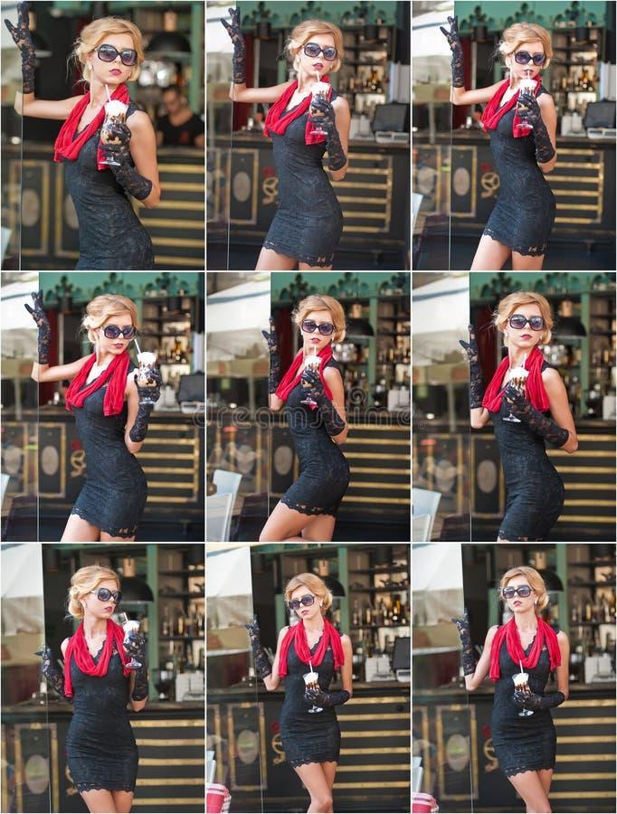 Senhora elegante com o vestido preto curto do laço e lenço e saltos altos vermelhos, tiro exterior Louro de cabelos curtos atrati foto de stock