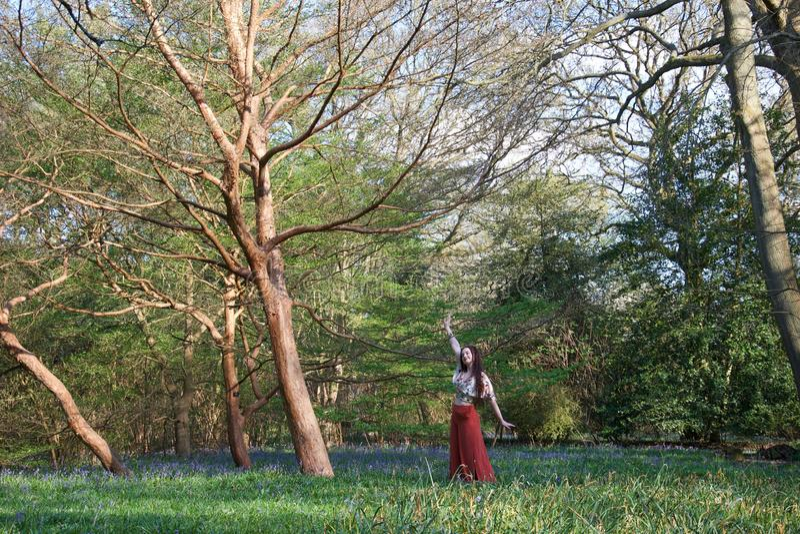 Senhora elegante que levanta em uma madeira inglesa com campainhas e árvores imagens de stock royalty free