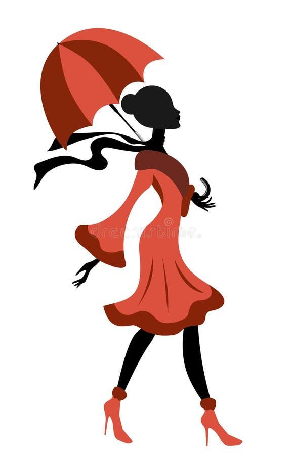 Senhora elegante Silhueta Walking ilustração do vetor