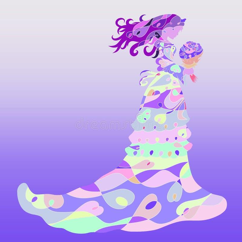 Senhora encantador com um ramalhete em um vestido longo refinado ilustração do vetor