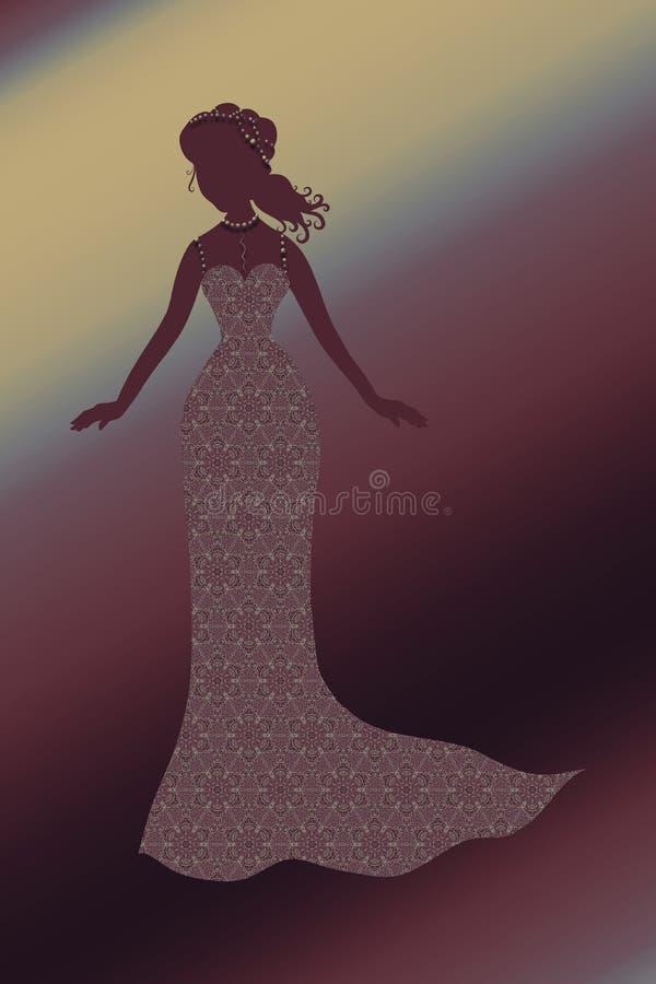 Senhora encantador em um vestido refinado do laço com joia ilustração do vetor