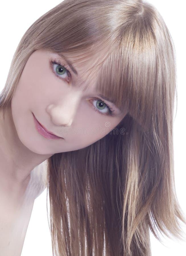 Senhora encantadora dos verde-olhos dos jovens imagem de stock
