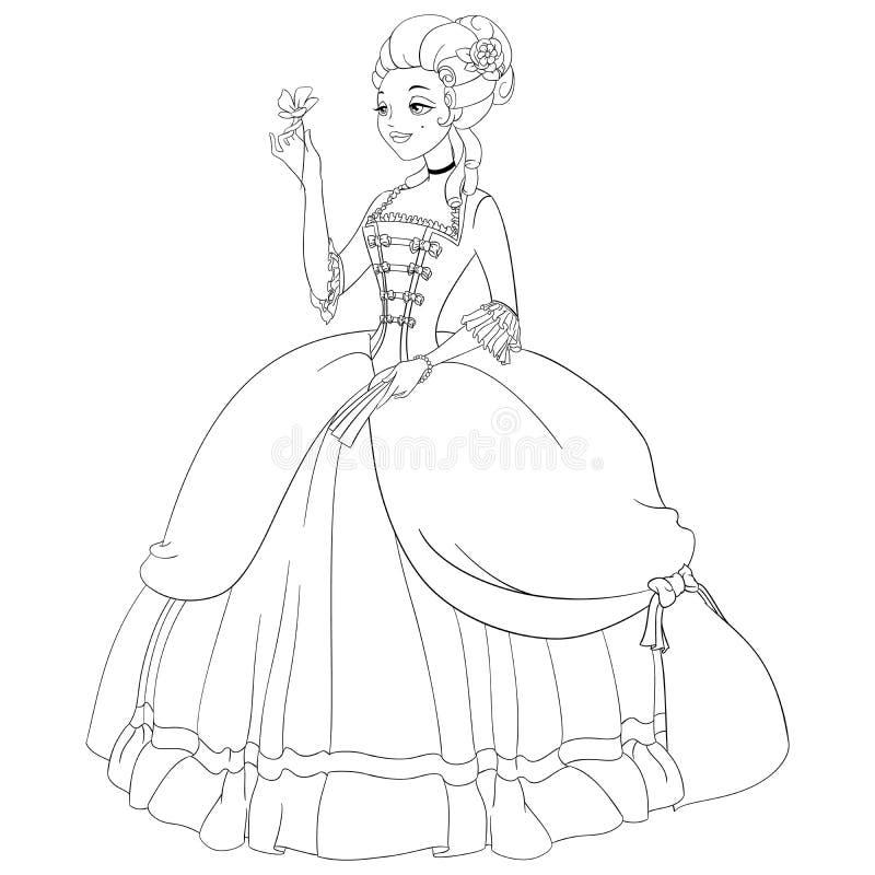 """Senhora esboçada dos rococós 'ÑŽ do ‰ Ñ do """"Ð?ÑˆÑ do ‹Ð?ÐºÑ do illuÑ do vetor da página da coloração ilustração royalty free"""