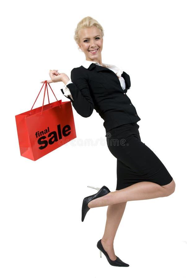Senhora feliz com saco de compra imagem de stock royalty free
