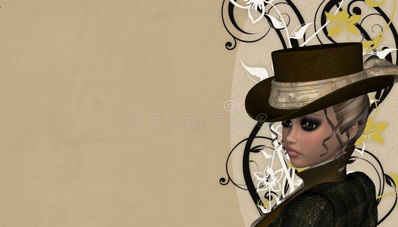 Senhora Fundo do Victorian ilustração royalty free