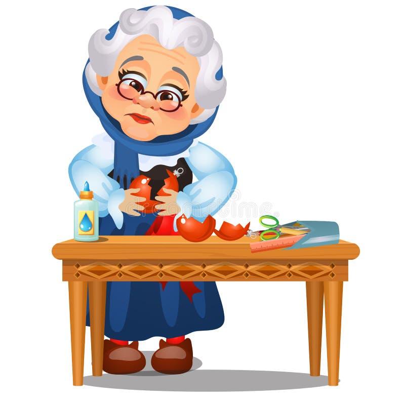 Senhora idosa animado triste colada acima dos brinquedos quebrados do Natal isolados em um fundo branco Esboço do Natal festivo ilustração stock
