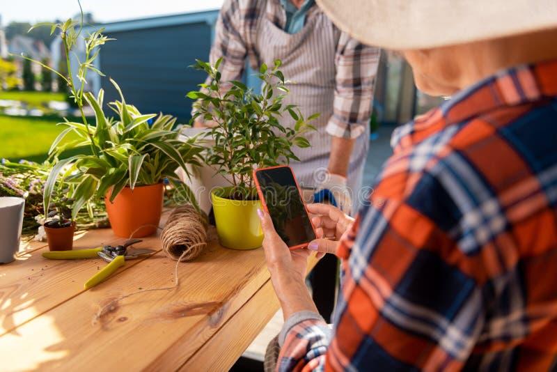 Senhora idosa moderna que guarda seu smartphone que faz a foto da planta agradável da casa foto de stock royalty free