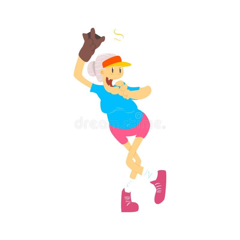 Senhora idosa Playing Baseball ilustração stock