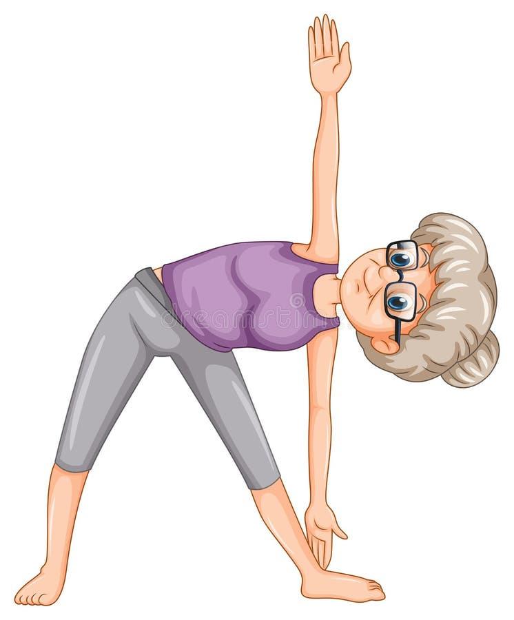 Senhora idosa que faz a ioga ilustração stock