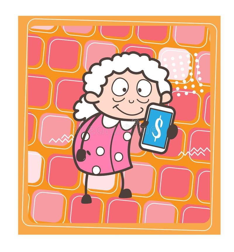 A senhora idosa Showing Extra Income dos desenhos animados derruba a ilustração do vetor ilustração royalty free