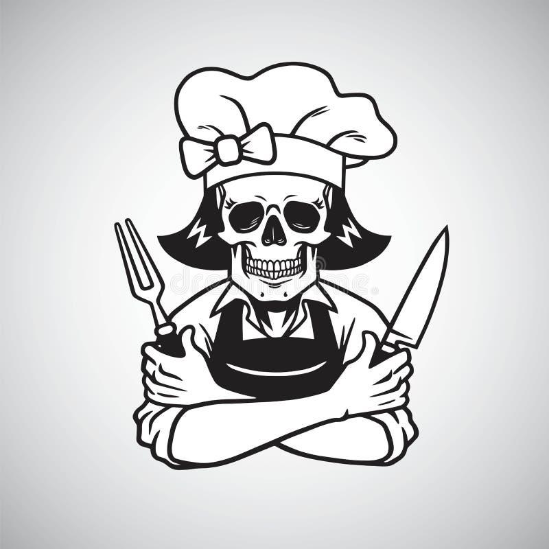 Senhora inoperante Skull Chef Logo Grinning com forquilha, Knive, e chapéu Desenho do vetor ilustração stock