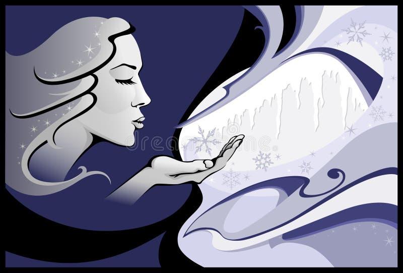 Senhora Inverno ilustração royalty free