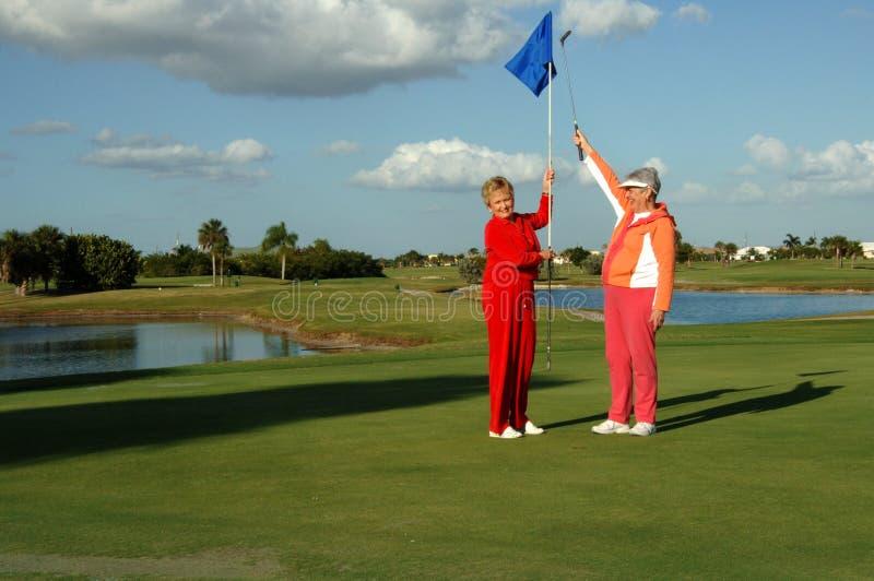 Download A Senhora Jogador De Golfe Comemora Fotografia de Stock Royalty Free - Imagem: 3841807