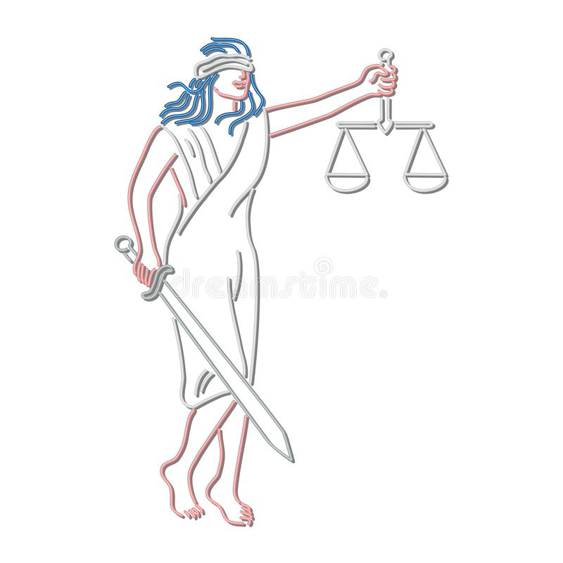 Senhora Justice Holding Sword e sinal de néon do equilíbrio ilustração stock