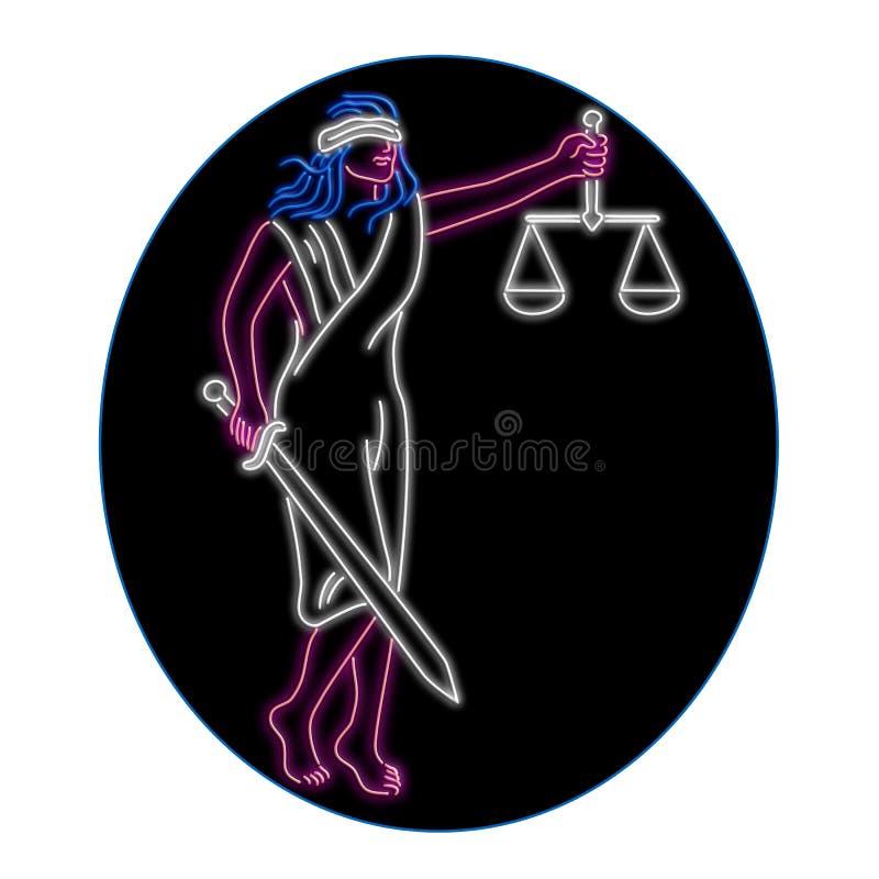 Senhora Justice Holding Sword e sinal de néon oval do equilíbrio ilustração royalty free