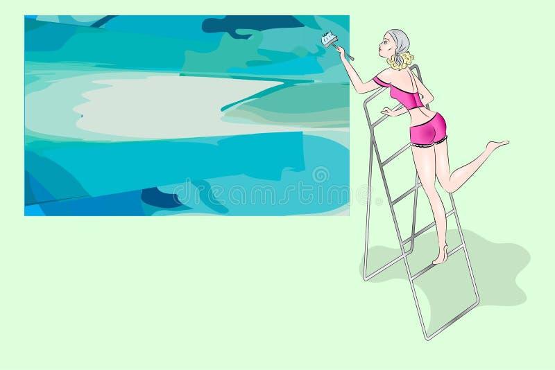 A senhora loura bonita pinta a lona ilustração stock