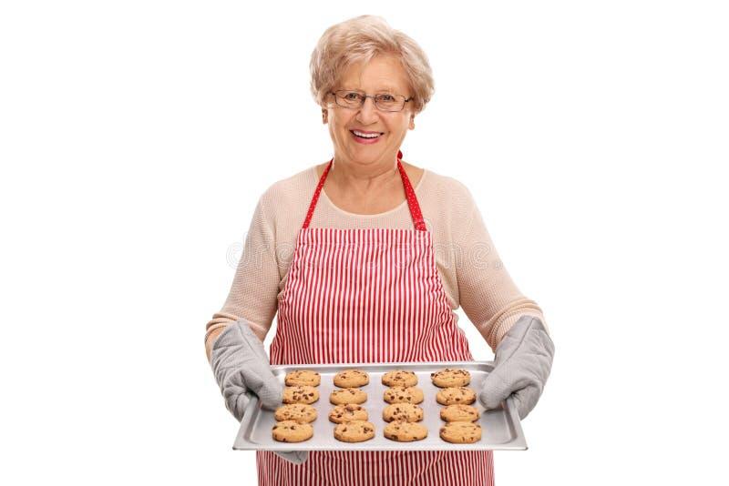 Senhora madura que guarda cookies caseiros imagem de stock