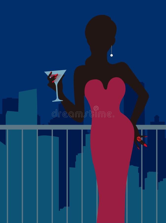 Senhora na barra ilustração royalty free