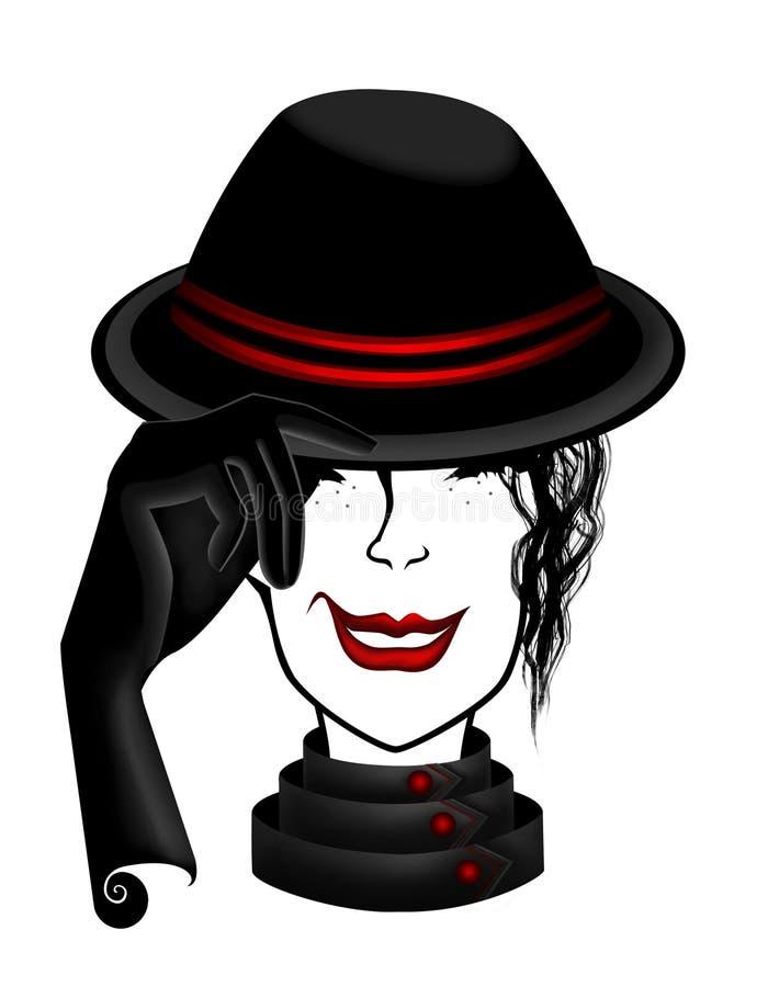 senhora na ilustração do chapéu negro ilustração do vetor