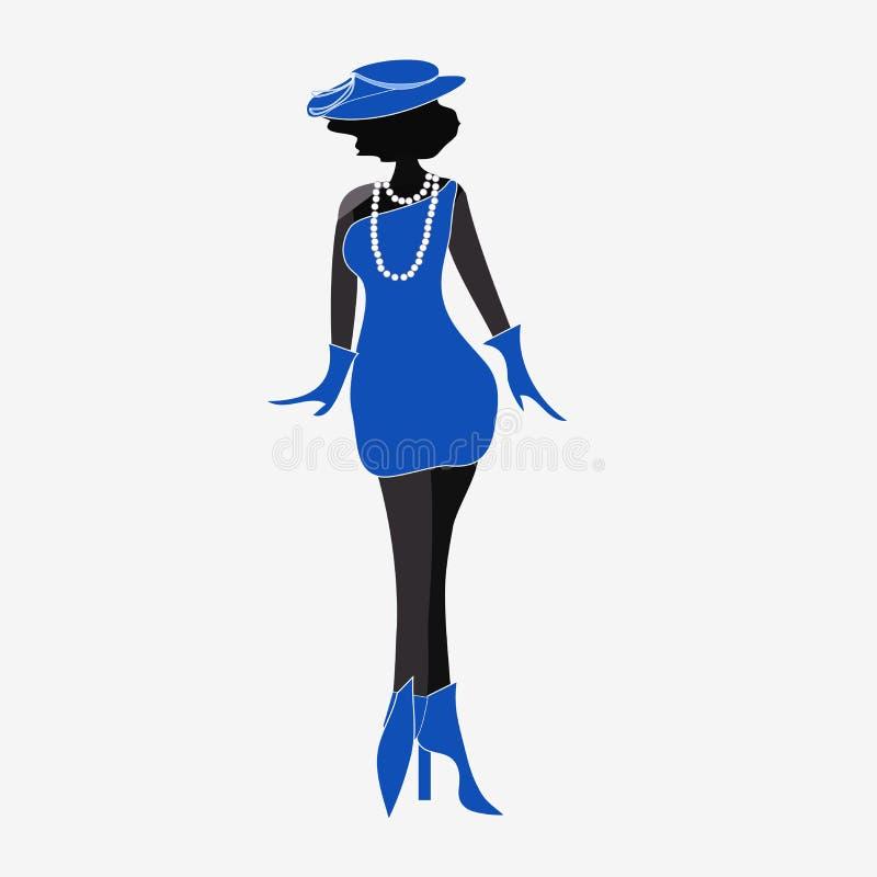 Senhora no azul ilustração do vetor