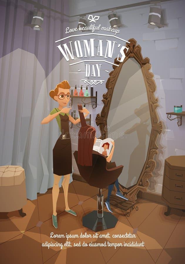 Senhora no cabeleireiro ilustração royalty free