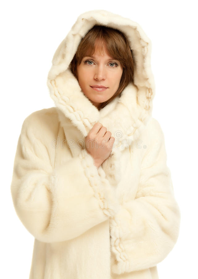 Senhora no casaco de pele fotografia de stock royalty free