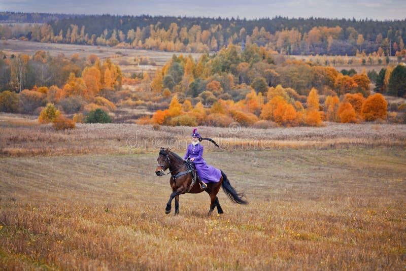 Senhora no habbit da equitação foto de stock