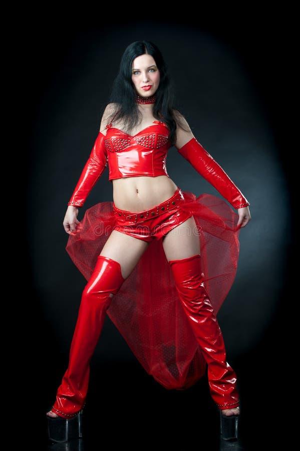 Senhora no vermelho fotografia de stock