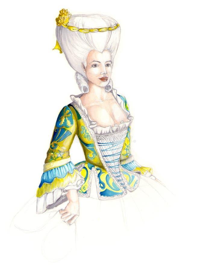 Senhora no vestido antigo 02 ilustração stock