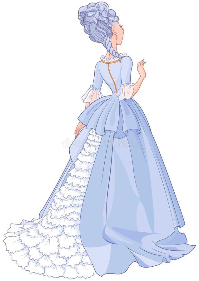Senhora no vestido azul bonito ilustração royalty free