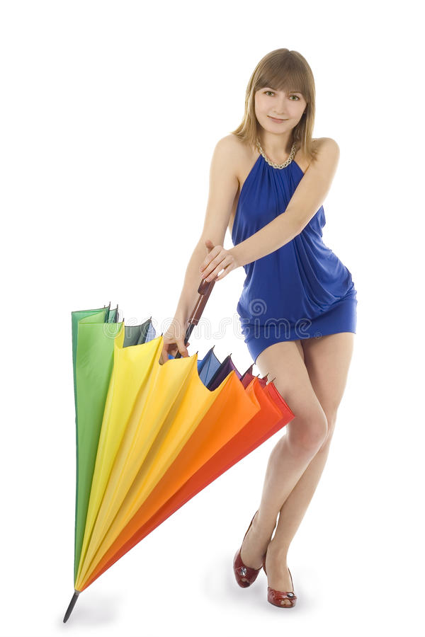 Senhora no vestido azul que está com cor u fotografia de stock