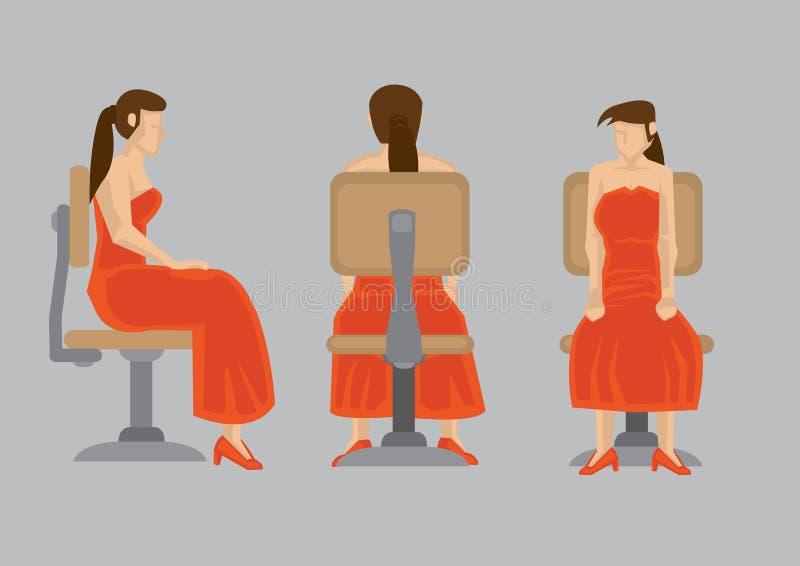 Senhora no vestido vermelho em desenhos animados da cadeira de giro ilustração stock