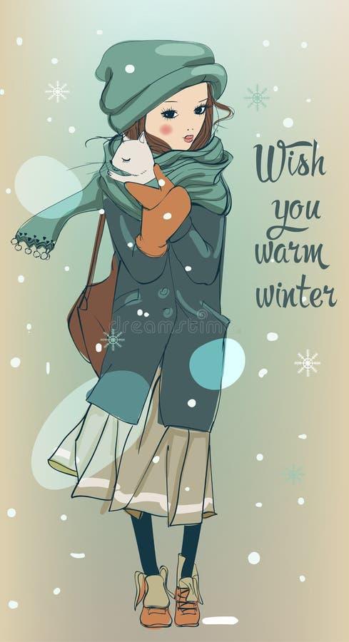 Senhora nova bonita do inverno ilustração royalty free