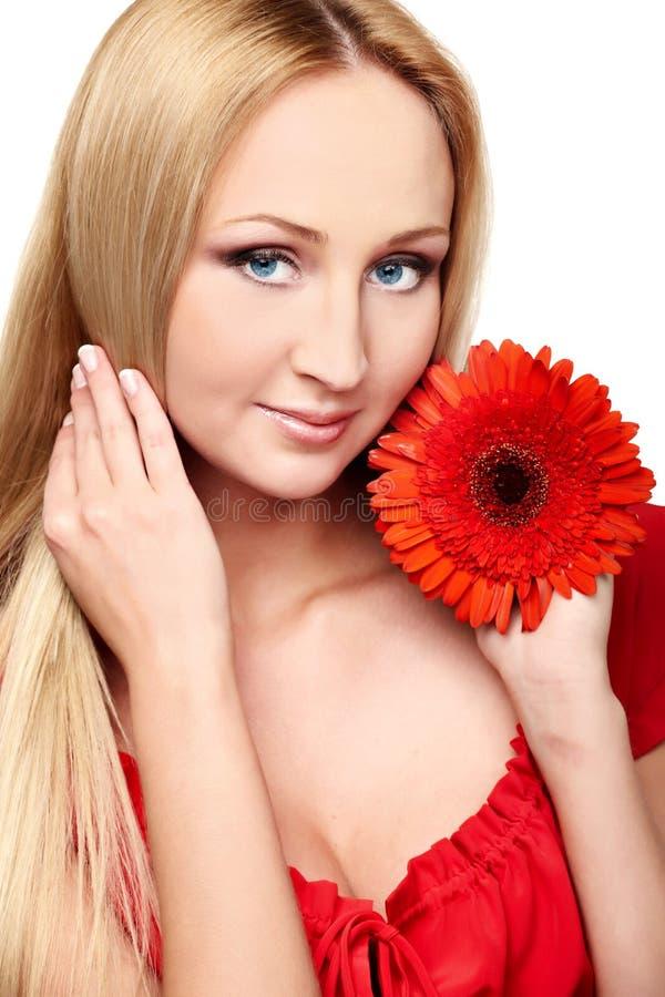 Senhora nova com gerbera vermelho imagem de stock royalty free