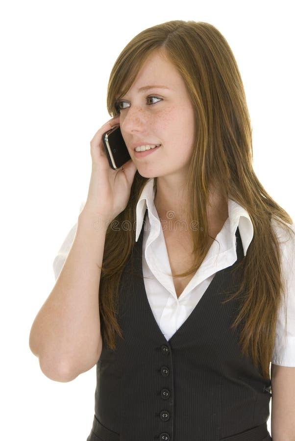 Senhora nova do negócio com telefone móvel foto de stock royalty free