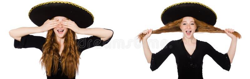 Senhora nova do ruivo no vestido preto com sombreiro preto foto de stock