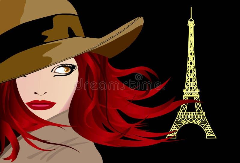 Senhora nova em Paris ilustração do vetor