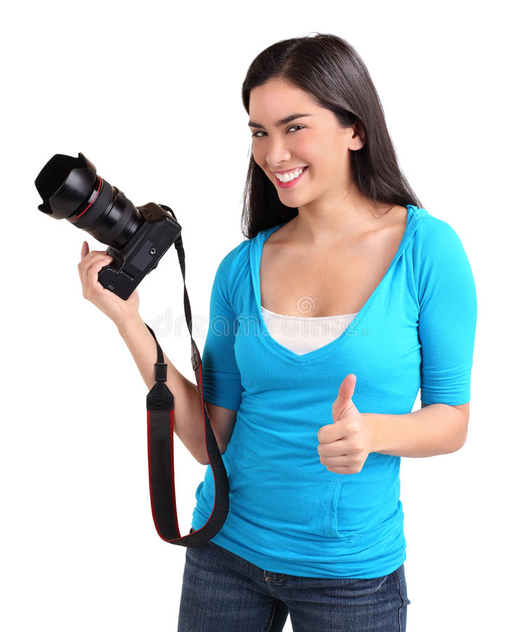 Senhora nova fotógrafo com polegares acima imagem de stock royalty free