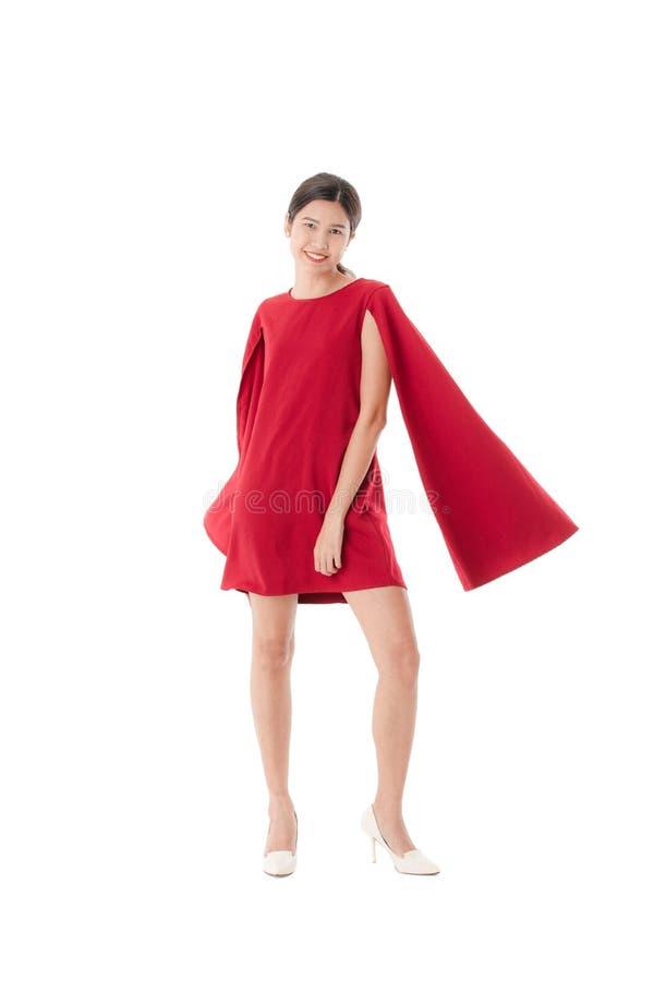 Senhora nova no vestido vermelho imagens de stock