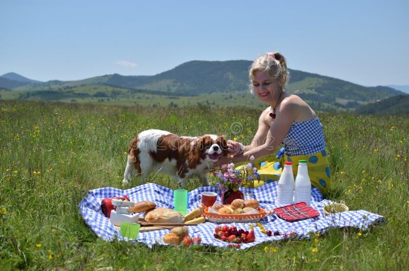 Senhora Playing com seu cão no piquenique foto de stock