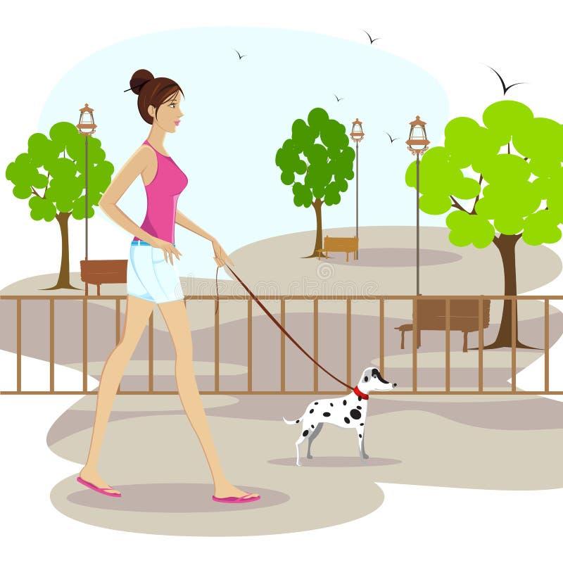 Senhora que anda com cão de animal de estimação ilustração royalty free