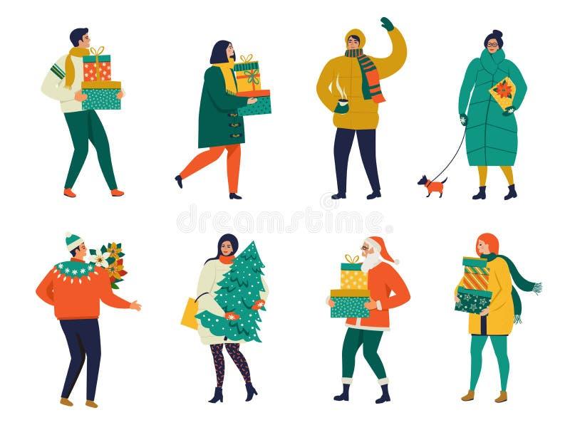 A senhora que anda com cão leva uma caixa de Natal Feliz Natal e ano novo feliz Cartão do Feliz Natal com passeio dos povos ilustração stock