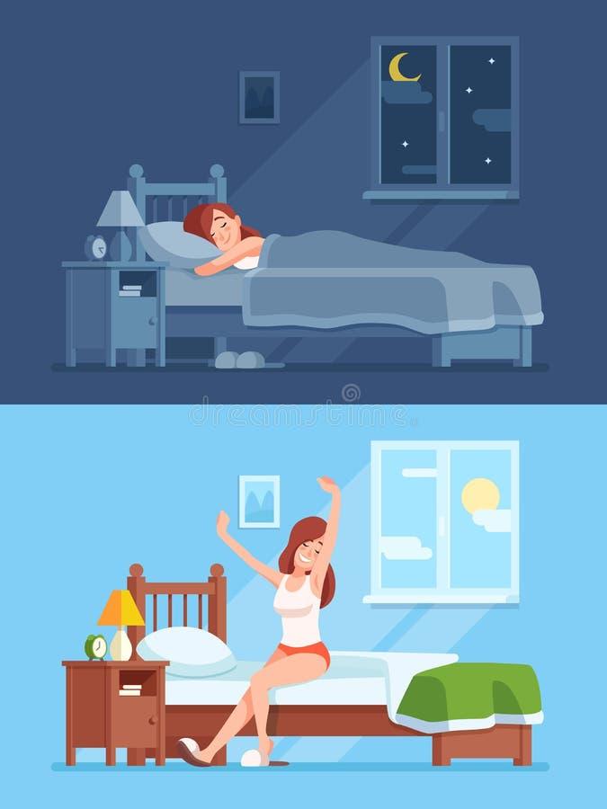 Senhora que dorme sob a edredão na noite, acordando na manhã e esticando o assento no colchão Sono da mulher em desenhos animados ilustração do vetor